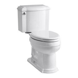 KOHLER - KOHLER K-3837-0 Devonshire Comfort Height Two-Piece Elongated 1.28 GPF Toilet - KOHLER K-3837-0 Devonshire Comfort Height two-piece elongated 1.28 GPF toilet with Class Five flush system and left-hand trip lever in White