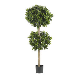 Nearly Natural - 57in. Sweet Bay Double Ball Topiary Silk Tree - At Nearly Natural, we have all manner of faux Ball Topiary's   singles, triples, etc. And nestled right in the middle of the spectrum is this gorgeous Sweet Bay Double Ball topiary. With 2 separate balls of lush greenery adorning its stately trunk, this exceptional recreation is the ideal balance between striking and subdued. Add in the fact that it never needs water, and you have a winner no matter the time of year.