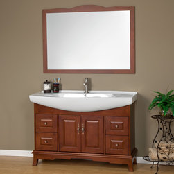 "49"" Ludington Vanity with Mirror - This contemporary vanity features a semi-recessed integral sink and classic hardware that combine for a unique look. Ample counter space paired with several storage options make this bathroom vanity a stylish and functional addition to your bathroom."