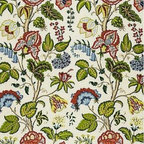 Schumacher - Tree of Life Fabric, Green - Like images from a Victorian botany illustration, this pattern made of 100 percent linen fabric is acutely detailed. Use for kitchen curtains, napkins or tablecloths — you'll never tire of the wonderful floral interpretations. (Two yard minimum order.)