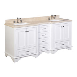 Kitchen Bath Collection - Nantucket 72-in Bath Vanity (Crema Marfil/White) - This bathroom vanity set by Kitchen Bath Collection includes a white cabinet with soft close drawers, Crema Marfil marble countertop, double undermount ceramic sinks, pop-up drains, and P-traps. Order now and we will include the pictured three-hole faucets and a matching backsplash as a free gift! All vanities come fully assembled by the manufacturer, with countertop & sink pre-installed.