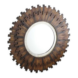 Vertuu Design - Asher  Mirror - Bring a touch of rustic charm to your wall using the Asher Mirror. The mirror's uneven, reclaimed walnut wood pieces are stacked vertically to create an eye-catching sunburst effect. The glass is lined with a silver interior frame that adds a subtle shine to the piece. Display this mirror in a bathroom or kitchen as a unique focal piece.