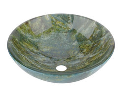 Renovators Supply - Glass Sinks Multi Colored Glass de Aarde Glass Vessel Sink Round - Glass Vessel Sinks: Double Layer Tempered glass sinks are five times stronger than glass, 3/4 inch thick, withstand up to 350 F degrees,  can resist moderate to high degrees of impact & are stain��_��__��_��__��_��__proof. Ready to install this package includes FREE 100% solid brass chrome-plated pop-up drain, FREE machined 100% solid brass chrome-plated mounting ring & silicone gasket. Measures 16 1/2 in. dia. x 6 in. deep x 3/4 in. thick.