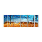 Pure Art - Moonlit Fields Tree Wall Art Set of 6 - This is an oversize artwork and its size seems to be a reflection of the vastness of the subject matter presented – a wide landscape at twilight. You can feel a crisp bite in the air, witnessed by trees in the foreground, black and devoid of leaves.  The autumnal colors in the shrubbery and the amber rows on the ground add a sense of late fall.Made with top grade aluminum material and handcrafted with the use of special colors, it is a very appealing piece that sticks out with its genuine glow. Easy to hang and clean.