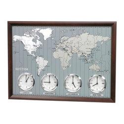 Rhythm - Around The World II Time Zone Wall Clock - The time around the world in one look