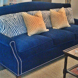Blue / Navy Custom Velvet Vanguard Sofa -