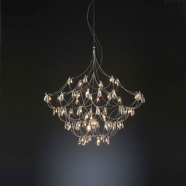 Crystal Galaxy Chandelier by Lightology Collection - Crystal Galaxy chandelier features hanging crystals and a nickel finish. Available in 24, 32, 40, 47, 55, 63, 71 and 79 inch wide version as well as with or without downlight option. 2 watt, 12 volt, T3.25 E10 base krypton lamps included or LED version comes with 0.3 watt LED lamps. General light distribution. Made in the Netherlands by Jan Pauwels. Overall height adjustable up to 78.74 inches.