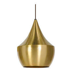 Tom Dixon - Beat Light - Fat - Brass by Tom Dixon - The Beat Light Collection pulled its inspiration from traditional Indian cooking pots and water vessels. Tom Dixon works closely with skilled artisans in Moradabad in Northern India, using rapidly vanishing skills learned from ancient Indian craftsmen, to create these beautiful fixtures. The Beat brass shades are formed by hand through spinning and beating technics making each shape unique. The interior is finished in a lacquer to prevent oxidation. The exterior is brushed brass. Lamps provide direct illumination.