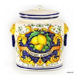 "Artistica - Hand Made in Italy - Majolica: Oval Canister ""Limoni Canditi"" - Majolica Collection:"