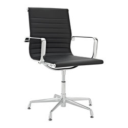 Modway - Discovery Black Vinyl Conference Chair - Add a contemporary style to your office with this black vinyl conference chair. The chair features a high-backed seat with horizontal stitching and a polished stainless steel frame for a professional look and feel. Assembly is required.