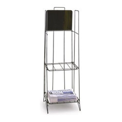 Black Quarterfold Newspaper Rack - Keep your quarterfold newspapers neat prominent and accessible with the Black Quarterfold Newspaper Rack. Crafted from metal with an attractive black finish this stylish free-standing floor rack features two shelves each of which comfortably holds newspapers measuring up to 18W x 11.5H inches. It boasts 26.25 inches of stackable capacity yet its lightweight foldable design both saves space and allows for easy storage. It also features a sign plate measuring 12W x 9H inches that's sure to catch the eye. Measures 13W x 11D x 41H inches.About The ShopperThe product described above is manufactured by The Shopper Inc. The Shopper specializes in wire and wood retail fixtures displays disk repair and packaging and unique accessories. Their top-quality products fall into three divisions: Video Store Shopper Protect-O-Products and Display-It Wire Products. Located in Simi Valley Calif. The Shopper has been serving video stores music stores bookstores convenience stores libraries and schools around the world since 1983.