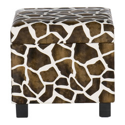 SEI - Faux Leather Storage Ottoman - Giraffe - Add some flare to your home with this glamorous giraffe print foot stool. Perfect everywhere from living room to kid's room, the added storage and decorative accent are sure to make an impression. Complete with an emulated fur texture, this faux leather foot stool has a lid that lifts to reveal a spacious storage compartment for throw pillows, blankets or toys. The anti-slam hinge will add peace of mind with small children around. Add some character to your home today!