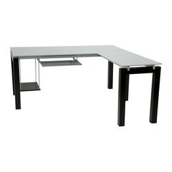 """Euro Style - Euro Style Ballard L Desk 27370A/27370G - The tempered glass surfaces of the Ballard Collection make light of any work situation. Silver printed tops and shelves are sturdy and smudge-proof. The perfect platform for your next BIG idea. Let's max out every square inch of available workspace! Computer tower and keyboard are right at home in the Ballard L-Desk. On its own or in a Ballard Design office, this is one """"L"""" of a workstation."""