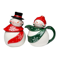 ATD - 5.13 Inch White, Red and Green Snowman and Snowwoman Salt and Pepper - This gorgeous 5.13 Inch White, Red and Green Snowman and Snowwoman Salt and Pepper has the finest details and highest quality you will find anywhere! 5.13 Inch White, Red and Green Snowman and Snowwoman Salt and Pepper is truly remarkable.