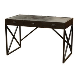 Four Hands - Iron Desk With  3 Drawers - Start your own industrial revolution in your home office with an upcycled, urban iron desk. Old iron cogs and cast-asides are fused together to make a sleek black iron desk with three usable drawers.