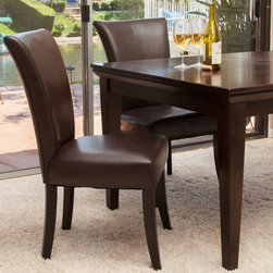 Christopher Knight Home - Christopher Knight Home Stanford Brown Leather Dining Chairs (Set of 2) - With the unique flared seat,softly padded seat and back,and overall comfortable upholstery,you simply can't go wrong with the Stanford dining chairs.