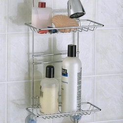 Taymor - Adjustable Shower Caddy in Chrome - Two adjustable racks. Two handy hooks for washcloths, shavers and brushes. Keeps items in easy reach. 8.63 in. W x 4.5 in. D x 22 (2 lbs.)What's special about this chrome shower caddy is that the shelves adjust to give you all the room you need for a taller shampoo bottle or add your personal preference in toiletries.