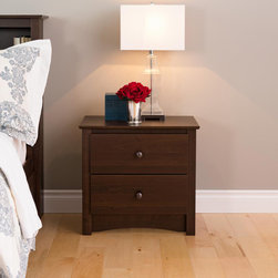 Prepac - Ellsworth Espresso 2-drawer Nightstand - The Ellsworth 2 Drawer Nightstand makes it possible for your furniture to be both elegant and functional. This space-saving bedside table gives you two full-sized drawers,each perfect for knick-knacks.