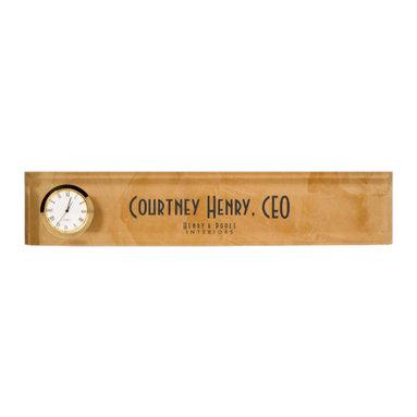 Classy Rustic Dante Orange Interior Designer Desk Nameplates Business Branding - Corbin Henry