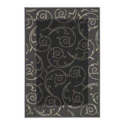 """Safavieh - Courtyard Black/Yellow Area Rug CY2665-3908 - 2' x 3'7"""" - Safavieh takes classic beauty outside of the home with the launch of their Courtyard Collection. Made in Belgium with enhanced polypropylene for extra durability, these rugs are suitable for anywhere inside or outside of the house. To achieve more intrica."""