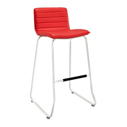 Modway - Modway EEI-1030 Dive Bar Stool in Red - Plunge straight into the heart of lively conversations with a piece that inspires progress. Turn tepid waters into warm rolling waves, as the swift design and clean lines take you places both far and near. The broadened stainless steel base further emphasizes momentum, in this piece that is both graceful and intensely ambitious. Dive is perfect for bars, restaurants, hotels and home use in kitchen and lounge areas.