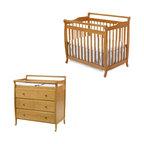 Da Vinci - DaVinci Emily Mini 2-in-1 Convertible Wood Baby Crib Set With Changing Table in - Da Vinci - Baby Crib Sets - M4798OM4755Opkg - DaVinci Emily Mini 2-in-1 Convertible Wood Baby Crib Set With Changing Table in Honey Oak