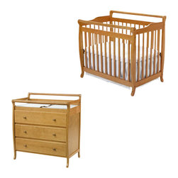 Da Vinci - DaVinci Emily Mini 2-in-1 Convertible Wood Baby Crib Set With Changing Table in - Da Vinci - Baby Crib Sets - M4798OM4755Opkg - DaVinci Emily Mini 2-in-1 Convertible Wood Baby Crib Set With Changing Table in Honey Oak