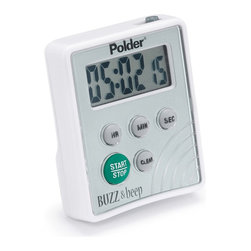 Polder Buzz & Beep Timer - The Buzz & Beep Digital Timer features vibration and beep alerts that can work together or be muted to vibrate only. Perfect for parents who are cooking and don't want to wake the kids! The stand-arm on the back doubles as a belt clip. Simply flick the switch to mute  hook the Buzz & Beep to your pocket and the timer will silently vibrate  alerting you when time is up. The large LCD screen reads in hour  minute and second increments. Item counts down and counts up  with a convenient overtime feature. A memory function instantly recalls the last setting. Batteries are included.Product Features                                   Vibration and beep alerts can work together or vibrate only                Large LCD for easy reading in hour  minute and second increments                100-hour countdown / count-up with 30-second alarm                Memory function instantly recalls last setting                Includes belt clip  stand arm and batteries