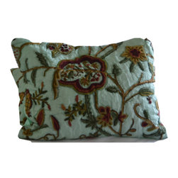 Crewel Fabric World - Crewel Pillow Quilted Sham Lotus Sweet Ocean Green Silk Organza Standard - Artisans in a remote mountain village in Kashmir crewel stitch these blossoms, vines and leaves by hand, resulting in a lush pattern of richly shaded wool yarns on Linen, Cotton, Velvet, Silk Organza, Jute. Also backed in natural linen, Cotton, Velvet Silk Organza, Jute with a hidden zipper.