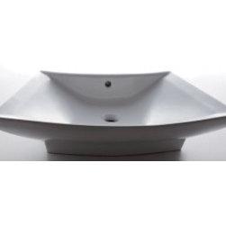 """Asian Style Bathroom - EAGO BA142 28"""" Rectanglur Porcelain Bathroom Sink with Single Hole"""