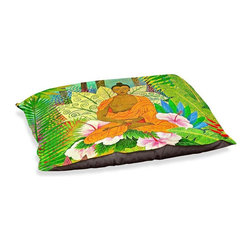 "DiaNoche Designs - Dog Pet Bed Fleece - Buddha in the Jungle - DiaNoche Designs works with artists from around the world to bring unique, designer products to decorate all aspects of your home.  Our artistic Pet Beds will be the talk of every guest to visit your home!  BARK! BARK! BARK!  MEOW...  Meow...  Reallly means, ""Hey everybody!  Look at my cool bed!  Our Pet Beds are topped with a snuggly fuzzy coral fleece and a durable indoor our underside material.  Machine Wash upon arrival for maximum softness.  Made in USA."