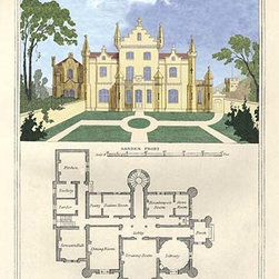 """Buyenlarge.com, Inc. - A Chateau in the Flemish Style- Paper poster 12"""" x 18"""" - Cottages & Villas of the English Countryside in the adaptation from foreign influences in design with a painting of the home and a basic first floor plan"""