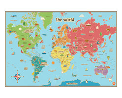 """WallPops - Kids' Dry-Erase World Map Wall Decal - This world map is especially suited to kids, with fun graphics, easy to read tags and bright colors. Our peel and stick kids world map decal is also dry-erase! Your kids will love learning about the world and making their own notes on this giant map, which is also first-rate for educational classroom decor! This kids World dry erase map is 36"""" x 24"""".  WallPops are repositionable and always removable."""