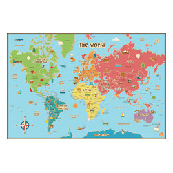 "WallPops - Kids World Dry Erase Map Wall Decal - This world map is especially suited to kids, with fun graphics, easy to read tags and bright colors. Our peel and stick kids world map decal is also dry-erase! Your kids will love learning about the world and making their own notes on this giant map, which is also first-rate for educational classroom decor! This kids World dry erase map is 36"" x 24"".  WallPops are repositionable and always removable."