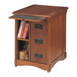 Powell Furniture - Powell Furniture Mission Oak Magazine Rack Cabinet - Powell Furniture - End Tables - 356 - The Mission Oak Magazine Cabinet End Table is perfect for your living room family room or den. Keep reading material close by your favorite arm chair. The pull out tray and numerous drawers and shelves make for above average storage for more than just magazines. Built from sturdy engineered wood with an oak veneer and warm oak finish this piece easily pairs with any existing couch or chair. Reminiscent of turn of the century Mission craftsman-style furniture the Mission Oak Magazine Cabinet End Table is sure to make your home feel warm and inviting.