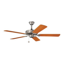 """Kichler 52"""" Ceiling Fan - Brushed Nickel - 52"""" Ceiling Fan. With a brushed nickel finish, this fan is a wonderful addition to the Kichler sterling manor collection. The 5, 52 blades are pitched 11. 5 degrees and are reversible with maple and marive cherry finishes. The 153mm x 15mm motor will provide the quiet power you need. This fan comes complete with a pull chain and 1 4 inch downrod."""