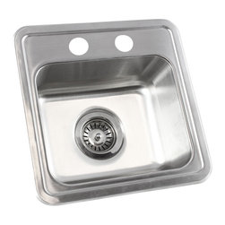 "TCS Home Supplies - 15 Inch Stainless Steel Drop in Single Bowl Kitchen / Bar / Prep Sink - 18 Gauge - Perfect for use alone in vanity cabinets, kitchen or bar area, or paired with another kitchen sink. Handcrafted from durable, 18-gauge stainless steel. Dimensions: 15"" x 15"" x 6-1/4""."