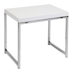 Ave Six - End Table in White - Laminated top with clear lacquer finish