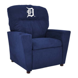 Imperial International - Detroit Tigers MLB Tween Recliner - Check out this awesome Tween Recliner. It's the perfect size for those Tween years. Now the whole family can join in and watch the game in their favorite chair! It has a great contemporary design with team color microfiber all over, and a cup holder. The team logo is embroidered and sewn on the headrest. It's perfect for your Man Cave, Game Room, Garage or Basement.