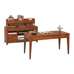 Winners Only - Solutions 60 in. Office Desk Set in Topaz Cin - Includes desk, credenza and hutch. Two drawer desk. Keyboard tray. End table with one shelf. Six drawer storage credenza. Four open shelves. Bottom shelf with sliding. Keyboard tray. Three drawer hutch. Three open shelves with compartments. Brushed nickel hardware. Traditional style. Desk: 60 in. W x 26 in. D x 30 in. H (112.5 lbs.). Corner Table: 26 in. W x 22 in. D x 30 in. H (51 lbs.) . Credenza: 60 in. W x 22 in. D x 30 in. H (260 lbs.). Hutch: 55.5 in. W x 9.5 in. D x 13.75 in. H (60.5 lbs.)