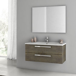 ACF - 38 Inch Grey Oak Bathroom Vanity Set - Set Includes: Vanity Cabinet (2 Drawers), high-end fitted ceramic sink, wall mounted vanity mirror. Vanity Set Features: Vanity cabinet made of engineered wood. Cabinet features waterproof panels. Vanity cabinet in grey oak finish. Cabinet features 2 soft