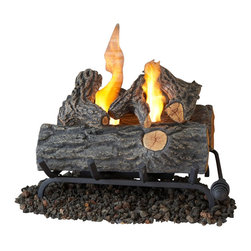 Real Flame - Real Flame 18 Inch Conversion Oak Log Set for Gel Fuel Fireplace - Real Flame - Fireplace Inserts - 2610 - Convert your existing gas or wood-burning Fireplace into a Real Flame gel-fueled fireplace and never worry about hauling wood messy ashes or soot again! The Five-piece realistic log set burns up to two cans of Real Flame gel fuel. Lift assembly allows for easy access to place and remove cans. This log set does not need venting there is no need to open the flue and can be used in dormant Fireplaces.