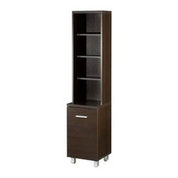Nexera Element Tall Bookcase Tower - Either as a complement to the Element TV console, or on its own as a decorative accent piece, the Nexera Element Tall Bookcase Tower provides beautiful, stylish storage for your favorite movies, books, or small decor items. It features six shelves; two are fixed and four are adjustable. The lower cabinet has a metal door handle, while metal legs with levelers ensure accurate adjustment.About Megalak Finition, Inc.Megalak Finition is a Canadian-based company specializing in quality, ready-to-assemble bedroom, office, and entertainment furniture. Megalak Finition prides itself on creating personalized home furnishings as unique as you - furniture that allows you to create a space all your own. Look to Megalak Finition furniture to find your new style: eco-chic, retro, or glamorous. Megalak Finition provides stylish, quality workmanship worthy of your home.
