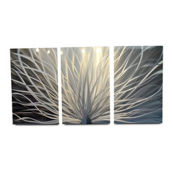 "Miles Shay - Metal Wall Art Decor Abstract Contemporary Modern Sculpture- Radiance 47"" - This Abstract Metal Wall Art & Sculpture captures the interplay of the highlights and shadows and creates a new three dimensional sense of movement as your view it from different angles."
