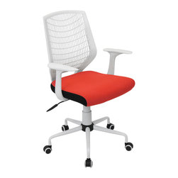 "Lumisource - Network Office Chair, White/Red - 22"" L x 25"" W x 36.6 - 39.5"" H"