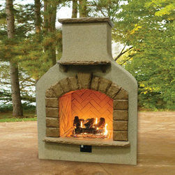 Sonoma Outdoor Gas Fireplace with Crystal Fire & Log Set - Sonoma Outdoor Gas Fireplace with Crystal Fire & Log Set can produce a flame to last up to eight hours. -Mantels Direct