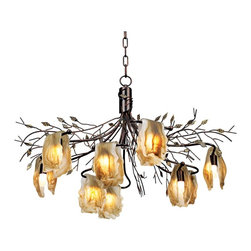 "Elk - Ivy Glen Collection 30"" Wide Light Chandelier - From Elk Lighting comes this romantic nine light chandelier. The free flowing branches and natural tea stained glass drape the silhouette of this piece. It features a blackened rust finish transformed into beautiful leaves. This blossoming chandelier will give your home an elegant look. Includes nine G-9 halogen 40 watt bulbs. 30"" wide. 22"" high.  Blackened rust finish.  Tea stained glass.  Includes nine G-9 halogen 40 watt bulbs.   30"" wide.   22"" high."