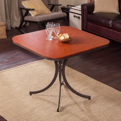 Meco Innobella Destiny 36 in. Square Wood Folding Table - Mission Rosso