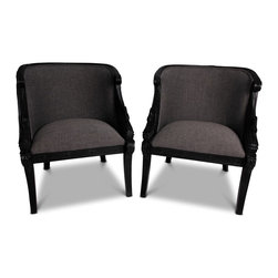 Consigned Pair of Black Swan Carved Arm Chairs - 32 h x 27 w x 26 d