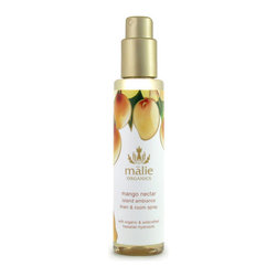 Malie Organics 'Mango Nectar' Organic Linen & Room Spray - A simple and instantaneous way to scent any room in your home, the office or even a hotel room. Enhance your given environment and let the experience embrace you. Infused with Hawaiian hydrosols, an organic spray brings the essence of paradise straight to you.Malie embodies the magnificence of Hawaii by distilling tropical flora and creating Hawaiian hydrosols, the truest essence of a flower and the heart of the linen and room spray. Spritz the air with the light mist to create an uplifting atmosphere or spray onto your linens before drifting into an island dreamland. Relax and indulge in the aroma of paradise with Malie Organics.Mango nectar brings the satisfaction of summer year-round, capturing the rich pink-orange hues and majesty of an inspirational Hawaiian sunset. Safe on all linens and skin. 70% of ingredients produced by certified-organic farming techniques. Brand: MALIE ORGANICS. Style Name: Malie Organics 'Mango Nectar' Organic Linen & Room Spray. Style Number: 648187.